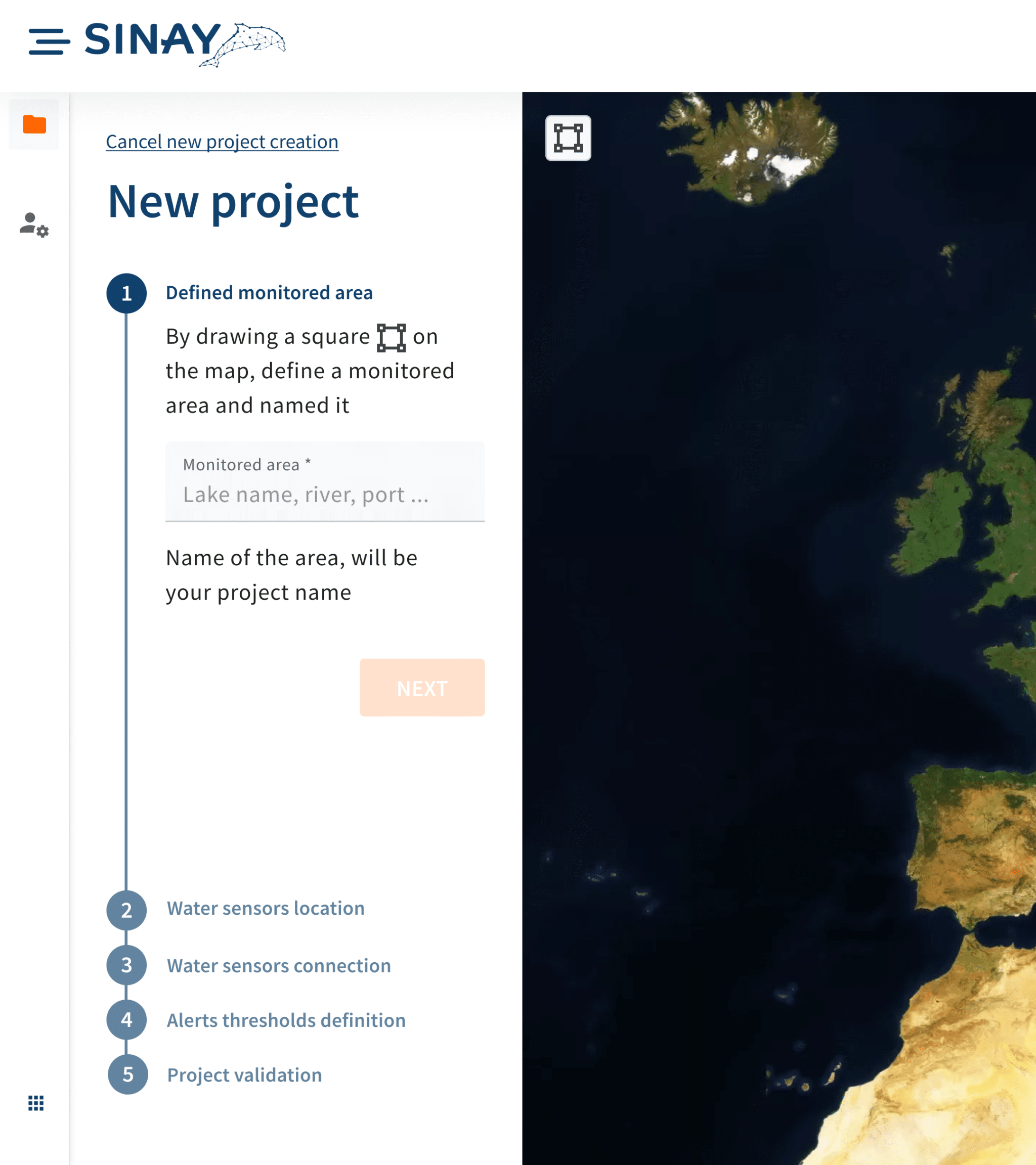 water monitoring project map